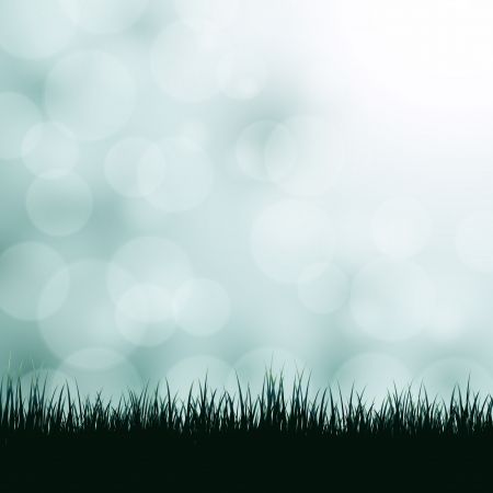 Nature background with grass and bokeh lights. Vector