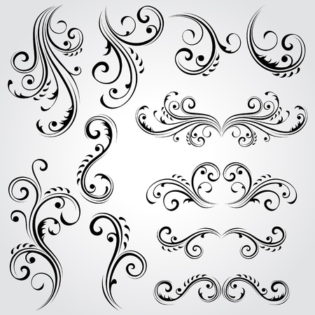 victorian scroll: Decorative floral elements Illustration