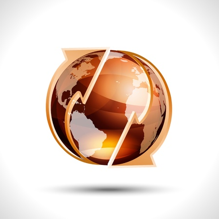 Orange globe with recycle arrows Vector