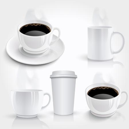 커피 컵 세트 일러스트