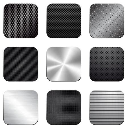 corduroy background: Apps metal-carbon icon set