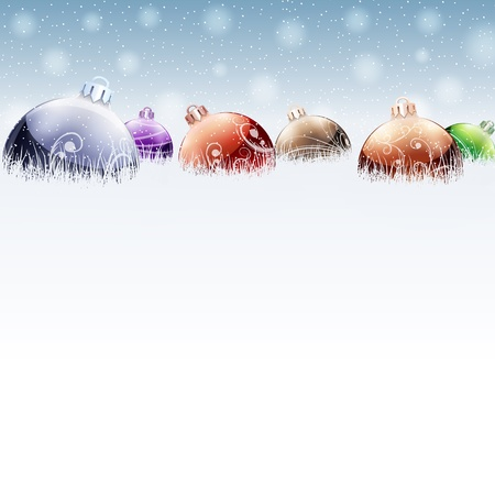 december: Christmas color baubles on snow Illustration