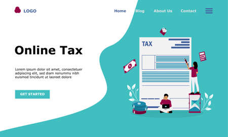 Online Tax Payment Vector Illustration Concept , Suitable for web landing page, ui,  mobile app, editorial design, flyer, banner, and other related occasion