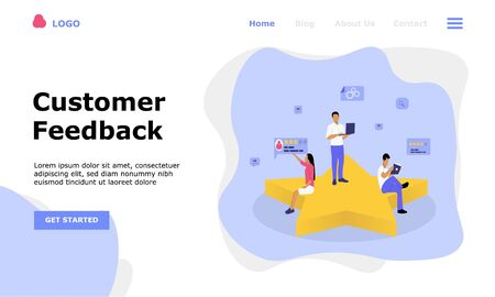 Customer Feedback Vector Illustration Concept, Suitable for web landing page, ui,  mobile app, editorial design, flyer, banner, and other related occasion