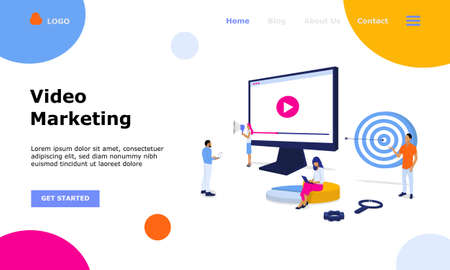 Video Marketing Vector Illustration Concept , Suitable for web landing page, ui, mobile app, editorial design, flyer, banner, and other related occasion