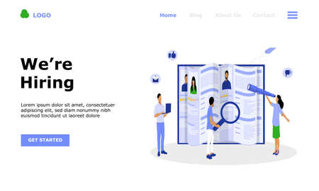 Job Hiring and Online Recruitment Vector Illustration Concept, Suitable for web landing page, ui,  mobile app, editorial design, flyer, banner, and other related occasion
