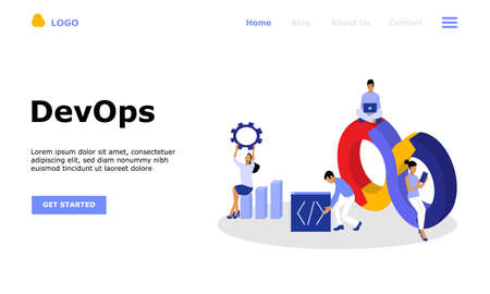 DevOps Programmers Vector Illustration Concept, Suitable for web landing page, ui, mobile app, editorial design, flyer, banner, and other related occasion 矢量图片