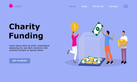 Charity Funding Vector Illustration Concept, Suitable for web landing page, ui, mobile app, editorial design, flyer, banner, and other related occasion Reklamní fotografie - 151419472