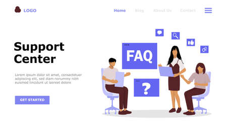 Frequently Asked Questions Vector Illustration Concept , Suitable for web landing page, ui,  mobile app, editorial design, flyer, banner, and other related occasion Иллюстрация