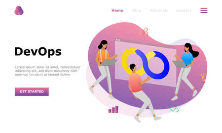 DevOps Programmers Vector Illustration Concept, Suitable for web landing page, ui, mobile app, editorial design, flyer, banner, and other related occasion