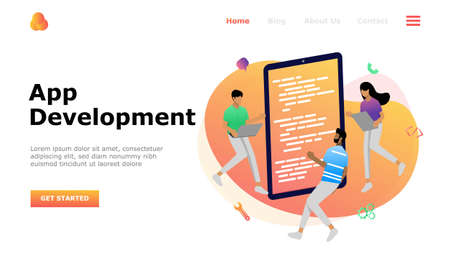 App Development Vector Illustration Concept, Suitable for web landing page, ui, mobile app, editorial design, flyer, banner, and other related occasion