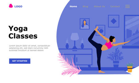 Yoga Classes Vector Illustration Concept, Suitable for web landing page, ui, mobile app, editorial design, flyer, banner, and other related occasion Illusztráció