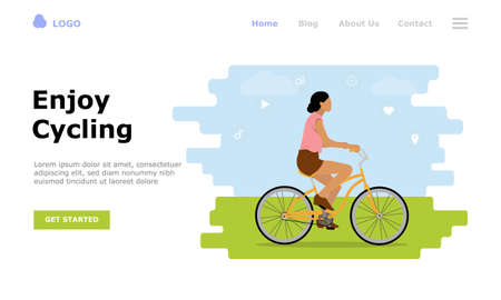 Enjoy Cycling Vector Illustration Concept, Suitable for web landing page, ui, mobile app, editorial design, flyer, banner, and other related occasion