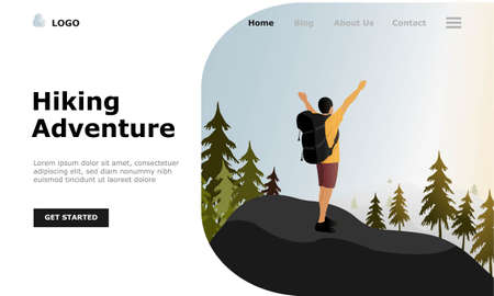 Hiking Vector Illustration Concept, Suitable for web landing page, ui,  mobile app, editorial design, flyer, banner, and other related occasion