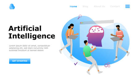 Artificial Intelligence Vector Illustration Concept, Suitable for web landing page, ui, mobile app, editorial design, flyer, banner, and other related occasion Illusztráció