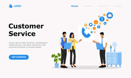 Customer Support and Advising Clients Vector Illustration Concept, Suitable for web landing page, ui,  mobile app, editorial design, flyer, banner, and other related occasion
