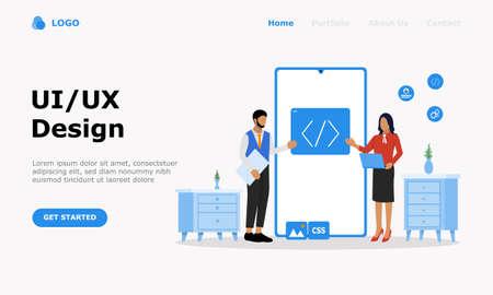 UI UX Design Vector Illustration Concept, Suitable for web landing page, ui, mobile app, editorial design, flyer, banner, and other related occasion Illusztráció