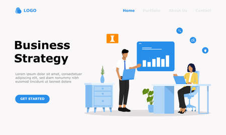 Business Strategy Vector Illustration Concept , Suitable for web landing page, ui,  mobile app, editorial design, flyer, banner, and other related occasion