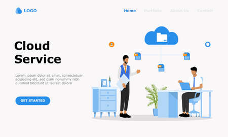 Cloud Computing Services Vector Illustration Concept , Suitable for web landing page, ui,  mobile app, editorial design, flyer, banner, and other related occasion