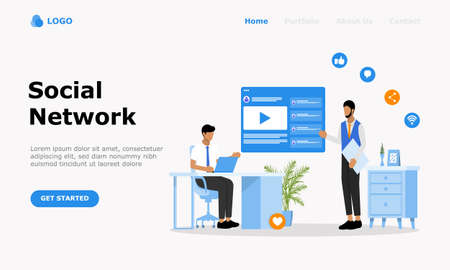 Social Network Vector Illustration Concept , Suitable for web landing page, ui,  mobile app, editorial design, flyer, banner, and other related occasion Illusztráció