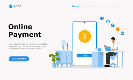 Online Payment Vector Illustration Concept, Suitable for web landing page, ui, mobile app,  editorial design, flyer, banner, and other related occasion