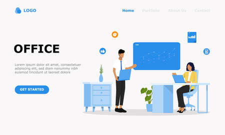 People in open space office Vector Illustration Concept , Suitable for web landing page, ui,  mobile app, editorial design, flyer, banner, and other related occasion