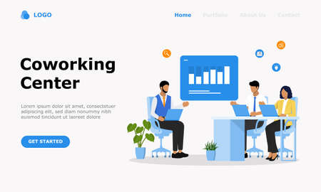 Coworking Center Vector Illustration Concept, Suitable for web landing page, ui,  mobile app, editorial design, flyer, banner, and other related occasion