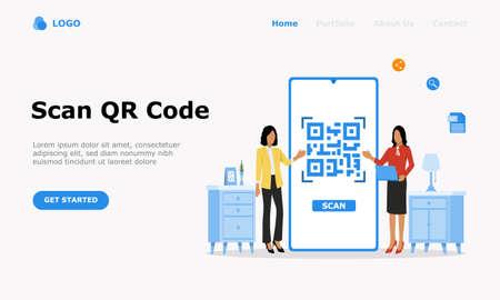QR Code Scanning Vector Illustration Concept, Suitable for web landing page, ui,  mobile app, editorial design, flyer, banner, and other related occasion Illusztráció