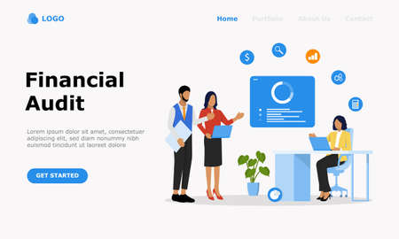 Financial Audit Vector Illustration Concept , Suitable for web landing page, ui, mobile app, editorial design, flyer,  banner, and other related occasion Illusztráció