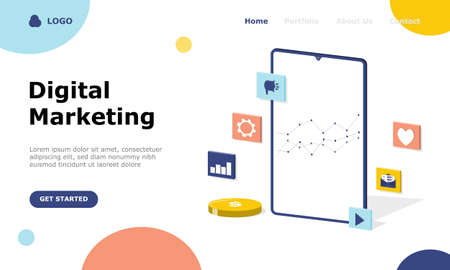 Digital Marketing Strategy Vector Illustration Concept, Suitable for web landing page, ui,  mobile app, editorial design, flyer, banner, and other related occasion