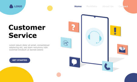 Customer Support and Advising Clients Vector Illustration Concept  Suitable for web landing page, ui, mobile app, editorial design, flyer, banner, and other related occasion Illusztráció
