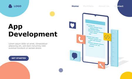 App Development Vector Illustration Concept, Suitable for web landing page, ui,  mobile app, editorial design, flyer, banner, and other related occasion Illusztráció