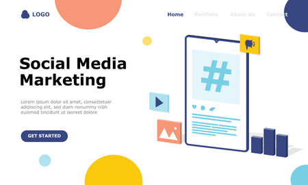 Social Media Marketing Vector Illustration Concept, Suitable for web landing page, ui,  mobile app, editorial design, flyer, banner, and other related occasion Illusztráció
