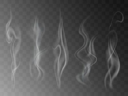 Smoke isolated on transparent background. Vector  fog, vapor set