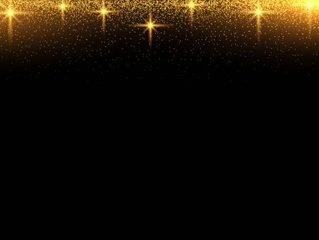 The dust sparks and golden stars shine with special light. Vector sparkles on a transparent background. Christmas light effect. Sparkling magical dust particles
