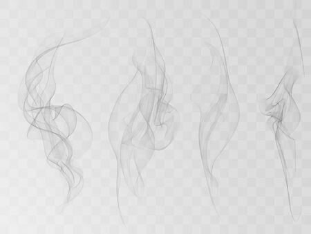 Vector Collection or Set of Realistic Cigarette Smoke or Fog or Haze with Transparency Isolated can be used with any Background.
