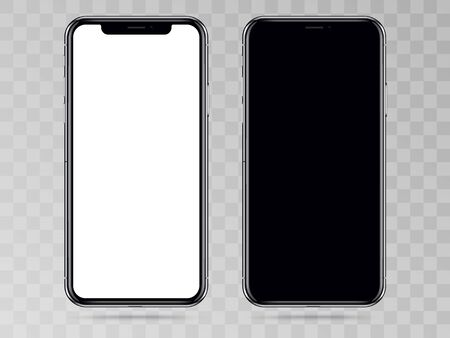 New Version of High Detailed Black Slim Realistic Smartphone isolated on Transparent Background. Front View Display. Illustration