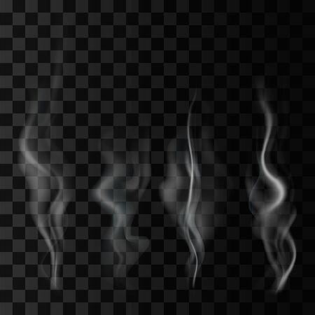 Fumée isolée sur fond transparent. Brouillard de vecteur, ensemble de vapeur
