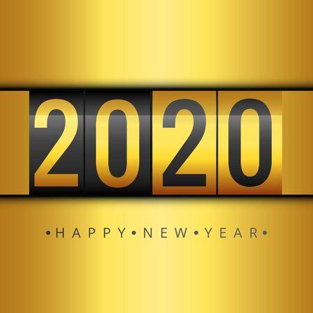 Minimalist Happy New Year gold card. 2020 calendar, invitation. Vector illustration