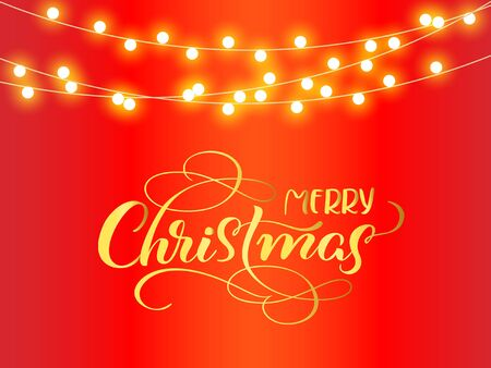Christmas golden decoration on red background. Merry Christmas and text. Hanging glitter garlands stars. Winter season sparkling ornaments on a string. For party posters, banners