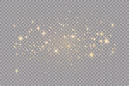 Satz goldener leuchtender Lichteffekte lokalisiert auf transparentem Hintergrund. Sonnenblitz mit Strahlen und Scheinwerfer. Glühlichteffekt. Stern platzte vor Funkeln.