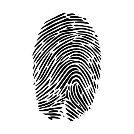 Human fingerprint finger print or bio metric scan line art vector icon for apps and websites. 矢量图片