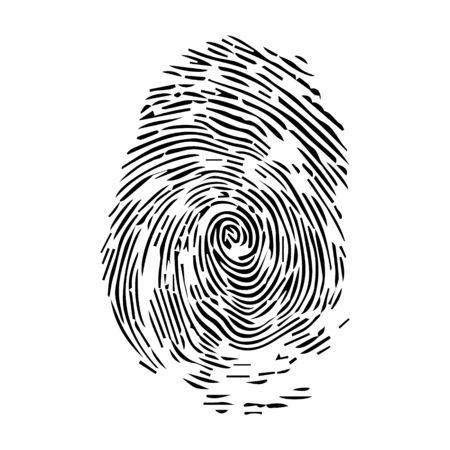 Empreinte digitale d'empreinte digitale humaine ou icône vectorielle d'art de ligne de balayage biométrique pour les applications et les sites Web.