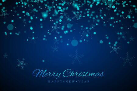 Christmas and New Year Blue background.