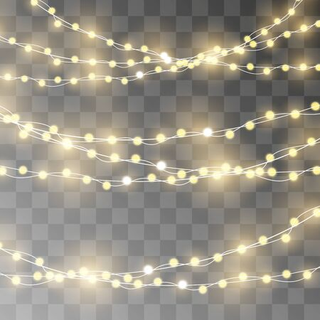 Christmas lights. Vector String with glowing light bulbs