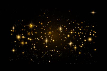 Glowing particles on black background. Glitter lights. Vector background.