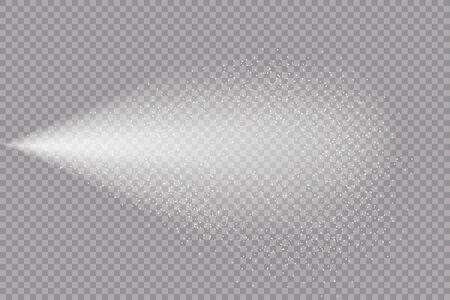 Airy water spray.Mist.Sprayer fog isolated on black transparent background. Airy spray and water hazy mist clean illustration.Vector illustration for your design, advertising, brochures and rest.