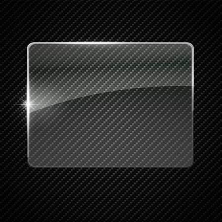 Glass plate on transparent background. Acrylic and glass texture with glares and light. Realistic transparent glass window in frame. Vector