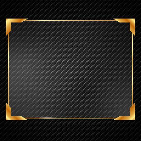 Illustration glassed golden rectangle frame isolated on black background. Vektorgrafik