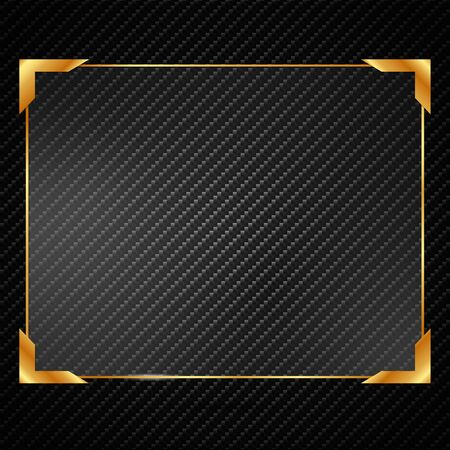 Illustration glassed golden rectangle frame isolated on black background. Иллюстрация